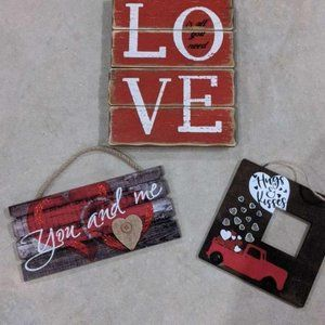 LOT OF 3 WOODEN VALENTINE'S SIGNS